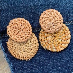NWOT Rattan Medallion Earrings